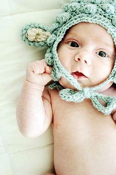 Baby Lamb Bonnet Hat Free Crochet Pattern through TheYarnBox.com
