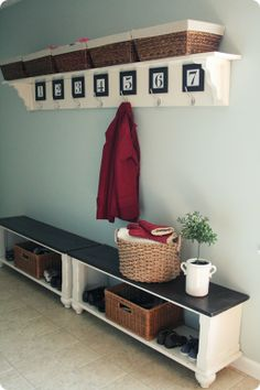 Entryway bench and numbered hooks