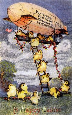 A whole blimp full of darling chicks rush forth to greet viewers of this charming vintage card.
