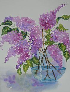 Bouquet of Lilacs in a Clear Vase - by yankeegirlart @ Etsy