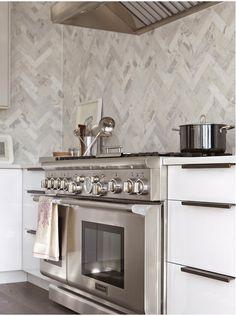 herringbone marble wall backsplash #kitchen