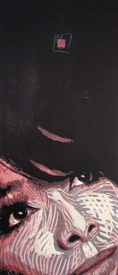 woodcut Portrait of Juliette Greco by German born printmaker Dirk Hagner