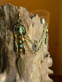 Tribal Rustic Dream Catcher Earring Ear Wrap with by CLeasBeadwork, $18.00