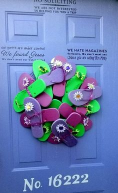 My violet front door with the new flip flop wreath for spring and summer. I <3 Pinterest!
