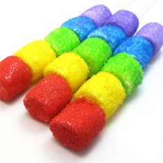 sparkly rainbow marshmallow kabobs   The Decorated Cookie