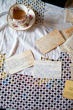 tea and old recipe cards