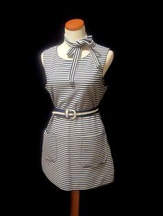 1969 Eastern Airlines Stewardess Navy Blue Smock Apron and Belts Flight Attendant Uniform