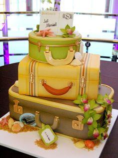 Travel cake. honeymoon, suitcas cake, cake shop, bon voyage, blue hawaii, suitcases, wedding cakes, vintage luggage, cake art