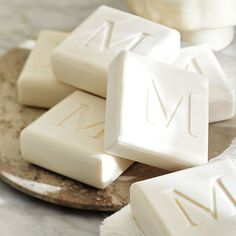 Monogrammed soaps are equal parts sumptuous and functional. See more personalized gifts when you click!