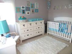 grey and aqua nursery