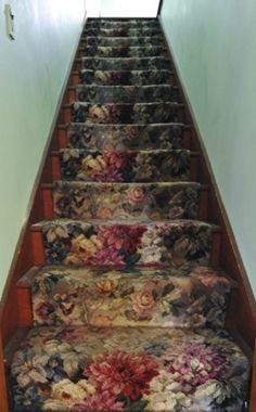 princess bedrooms, bedroom decorating ideas, vintage floral, carpets, hous, stair runners, flowers, garden stairs, stairways