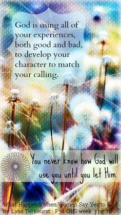 God is using all of your experiences, both good and bad, to develop your character to match your calling.  ~Lysa TerKeurst