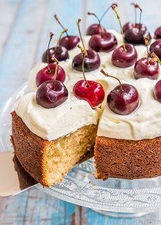 Brown Butter Cake with Vanilla Bean Cream & Cherries