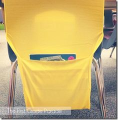 $1 target book covers can be used as chair pockets!!!