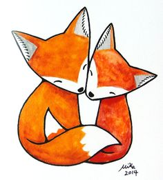 Fox Illustration Print Red Fox Couple Love Illustration by mikaart, on etsy.com