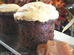 Double Chocolate Little Cinnamon Spice Cakes with Caramel Butter Cream