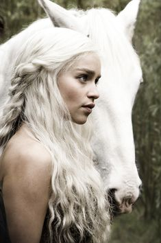 "Daenerys Targaryen - the Dothraki Khaleesi, and the Mother of Dragons. The Targaryen words are ""Fire and Blood""."