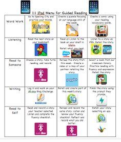 1:1 iPad Guided Reading Choice Board