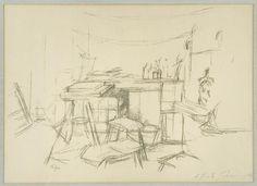 Alberto : The Studio with Bottles, 1957, by Alberto Giacometti etching 16 x 22 in, Edition of 100, Contact Nikola Rukaj Gallery, Toronto for price, #giacometti, #alberto_giacometti_etching