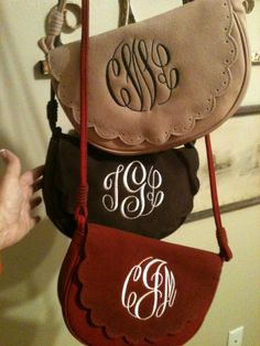 Monogrammed purse with shoulder strap by TracyGuin on Etsy, $40.00