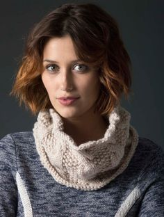 Try cabling with this knit cowl in Lion's Pride Woolspun.