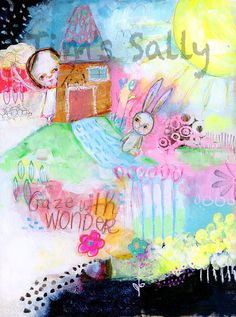 Gaze With Wonder  mixed media art print by Mindy by timssally, $18.00