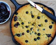 Summer Corn Bread with Fresh Blueberries, a real seasonal treat, a skillet of warm corn bread studded with fresh blueberries.