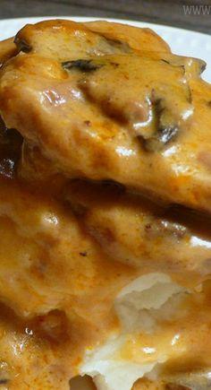 Slow Cooker Steak in Golden Mushroom Cream Sauce
