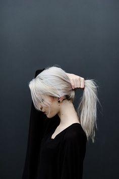 white hair...