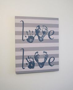 Custom Love Handprint and Footprint Canvas Art with Print Kit, for 2 Children, Any Color, Stripe, Handpainted Keepsake, 16x20""