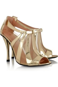 Querrye metallic leather and mesh sandals by Robert Clergerie