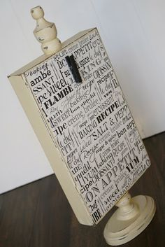 Easy DIY Gift: Recipe & Photo Holder (could use chalkboard paint on front. Fun for dinner party buffet label)