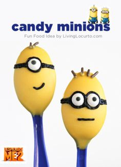 Cute Candy Minion Spoons! Fun Food idea by LivingLocurto.com minion birthday, birthday parties, party desserts, candi, minion parti, minion party, candy desserts, parti idea, birthday ideas