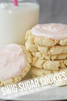 Knockoff Swig Sugar Cookie Recipe  from Vintage Revivals  http://recipesjust4u.com/knockoff-swig-sugar-cookie-recipe/