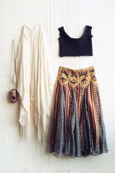 Maxi skirt in a fun, colourful print, long vest