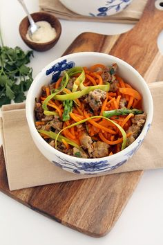 ... asparagus and sausage sweet potato noodle pasta use aip sausage