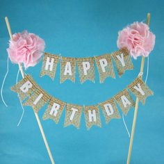 Rustic burlap cake banner Pink Birthday cake by Hartranftdesign, $34.00