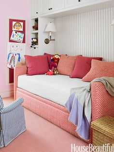 An Avery Boardman daybed in the daughter's room is upholstered in Alan Campbell's vivacious Kells II.