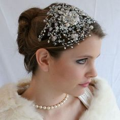 Pearl and jewel headband to go with a fun reception dress.
