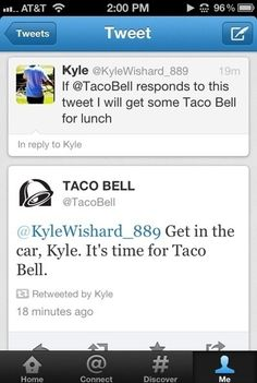 """Taco Bell doing social media right."""
