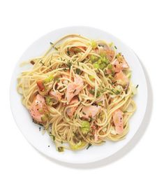 Buttery Pasta With Salmon and Leeks Recipe from realsimple.com. #myplate #veggies #protein