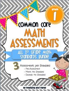 1st Grade Common Core Math Assessment - ALL STANDARDS (3 tests per standard - pre assessment, meets the standard, exceeds the standard). These are RIGOROUS assessments that match the mathematical principles required by the common core. Includes answer keys and scoring rubricts. $15