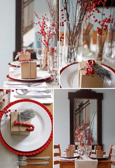 RED HOLIDAY TABLE SETTINGS