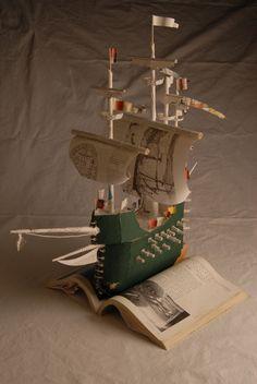 books, model, book art, emily dickinson, book ship, frigat, 3d art, emili dickinson, mari rose