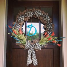Spring and summer wreath with burlap, chevron, and flowers!