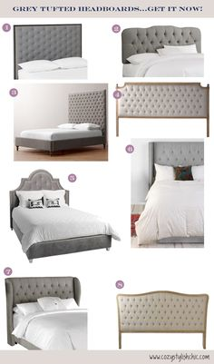 My Current Obsession - Grey Tufted Headboards |  Cozy•Stylish•Chic