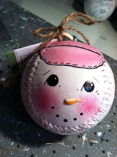 Pink Snowball Ornament hand painted baseball by cooperstownsantaco, $15.00