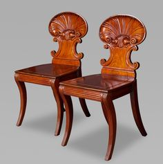 Pair of Gillows Shell Back Hall Chairs - Michael Pashby Antiques