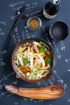 Udon noodle soup and a fabulous spoon.  japanese vegetarian food.