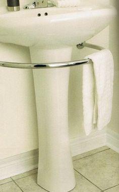 bathroom hardware, downstairs bathroom, towel racks, small bathroom storage, small bathrooms, pedest sink, bathroom ideas, home kitchens, storage ideas